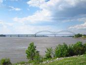 Rio Mississippi, divisa dos estados de Arkansas (esq) e Tennessee (dir). Foto: Evandro Silva